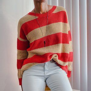 BDG Red & Tan Oversized Sweater